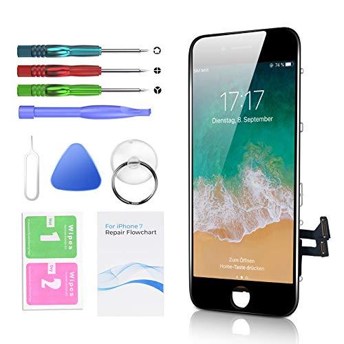 Htechy Ersatz für iPhone 7 Display Schwarz Touchscreen Kompatibel mit iPhone 7 LCD Display Retain 3D Touch mit Bild Installation Anleitung und Komplettes Reparatur Werkzeugset