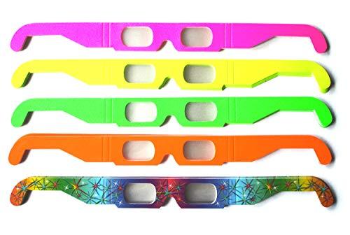 50 x Partybrille, Silvesterbrille, Feuerwerksbrille, gemischt (5 versch. Farben): Multispektral Brille, Spektralbrille