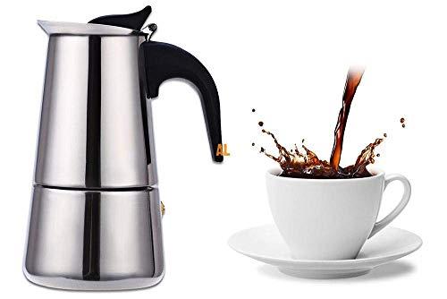 EMNDR Stainless Steel Espresso Coffee Maker/Percolator Coffee Moka Pot Maker, Silver (6 Cup)