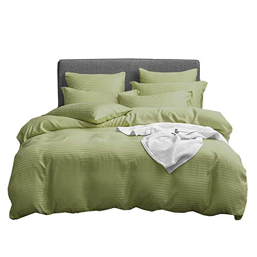 UMI. by Amazon - Microfibre Duvet Cover Set,Classic Striped Microfiber Bedding.(6 Sizes,12 Colours)(135x200+1x80x80cm,Olive Green)