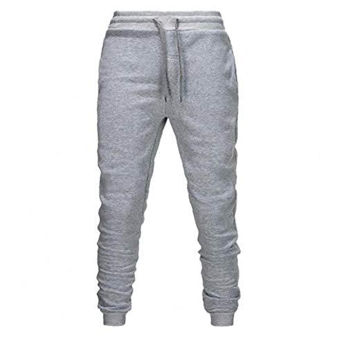 Hombres Pantalones Deportivos Pantalones de chándal se Divierte los Pantalones Ocasional sólida de Color de Trabajo para Pantalones para el otoño Invierno Gris L