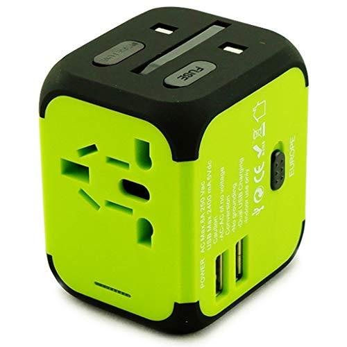 QWZ Adaptador de energía Internacional Todo en uno con 2.4A Dual USB, Adaptador de Corriente de Viaje, Puertos de Carga para EE. UU. UE UE UK AUS Teléfono Celular Europeo (Color : Green)