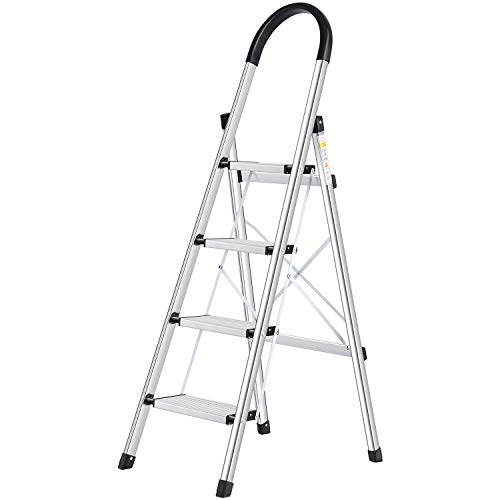 Lionladder 4 Step Stool Aluminum Ladder Portable Folding Anti-Slip with Rubber Hand Grip 330lbs Capacity,Silver Household Stepladders
