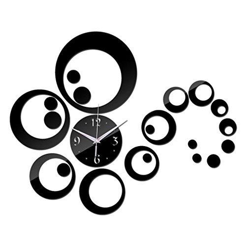 CandyTT Modernes Design DIY 3D Acryl Spiegel Kunst Wandaufkleber Uhr CA022 Einzigartige Home Wohnzimmer Dekoration Tolles Geschenk (schwarz)