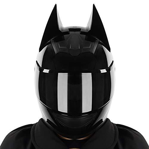 DHRBK Cascos de Motocicleta Locomotora Casco de Batman de Cara Completa Caballero con Visera retráctil Scooter Todo Terreno Ciclomotor Equipo de protección