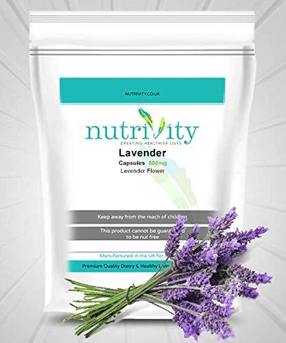 Lavendel 500 mg Veggie Capsules Kruiden ontspannende rustgevende supplement door voeding
