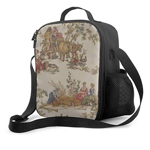 Leak-Proof Lunch Bag Tote Bag, French Country Toile Print MoJo Cooler Bag Portable Carrying Lunch Box Bag for Adults and Kids to School Office Outdoor