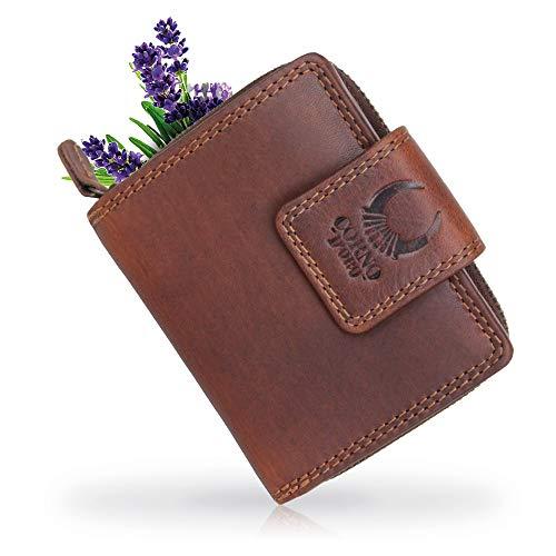 Corno d´Oro Kleine Damen Leder RFID Geldbörse in Geschenkbox I Mini Geldbeutel Vintage Braun I Frauen Portemonnaie mit Münzfach 5026