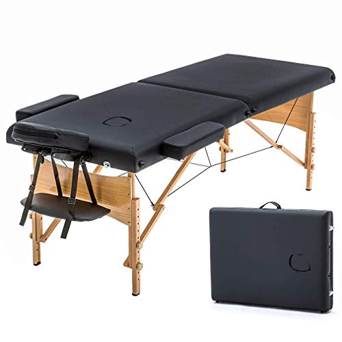 New Black 73in Portable Massage Table w/Free Carry Case Chair Bed Spa Facial (Renewed)