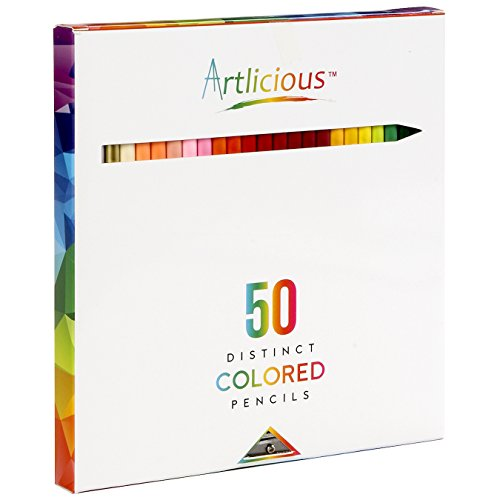 Artlicious - 50 Premium Distinct Colored Pencils for Adult Coloring Books - Bonus Sharpener - Color Names on Pencils