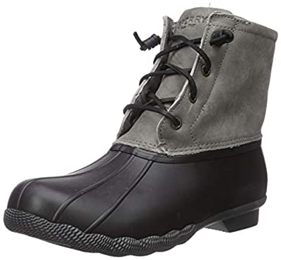 Sperry Womens Saltwater Boots, Black/Grey, 12