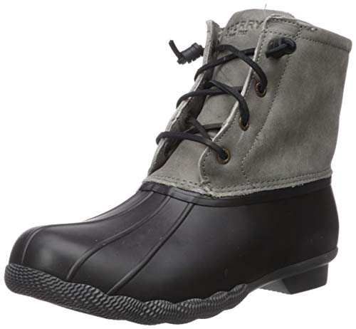 Sperry Womens Saltwater Boots, Black/Grey, 8.5