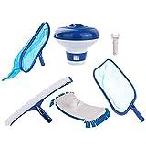 HAOXIU Juego de red para piscina, cepillo para piscina, adecuado para la limpieza de piscinas, bañeras, acuarios, hojas y suciedad profunda.