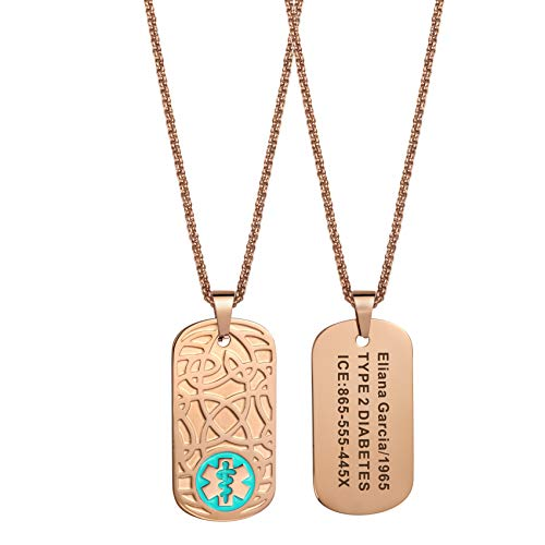 MunsteryAid Customize Medical Alert Celtic knot Dog Tag Necklace with Free Engraving for Men Women, Stylish Personalized Emergency Identification ID Necklace,Rose Golden Color,4 Color Option (Blue)