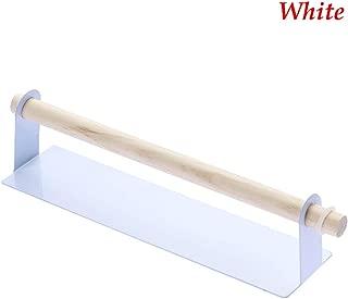 UUMIR Kitchen Accessories Wall Hanging Metal Sticker Cloth Rail Storage Racks Toilet Paper Shelf Self-Adhesive Towel Holder(White)
