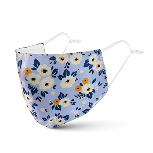 Clöudz Reusable and Washable, Soft Breathable 100% Cotton, Adjustable Protective Face Mask - Floral/Blue