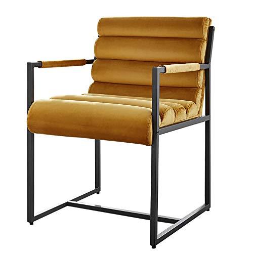 Damiware Tony Stuhl | Design Wohnzimmerstuhl Esszimmerstuhle Bürostuhl mit Stoffbezug | (Samt Ockergelb)