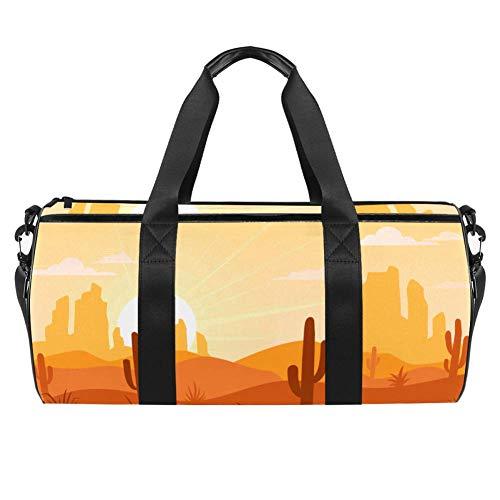 TIZORAX Sunrise Desert Cactus Gym Duffle Bag Drum tote Fitness Travel Bag Rooftop Rack Bag