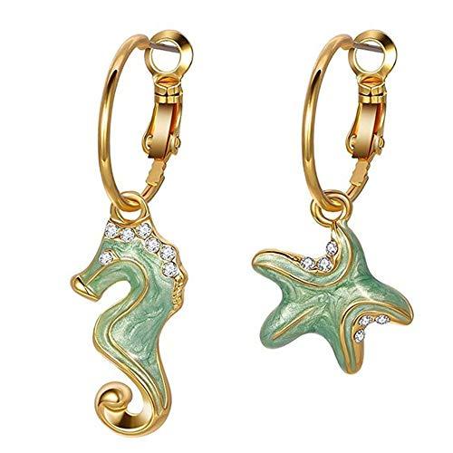 D&XQX Pendientes Colgante asimétrica con Cristales de Regalos de la joyería Seahorse y Estrellas de mar Pendientes de Las Mujeres,Verde