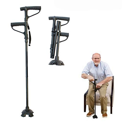LANGYINH wandelstok met twee handgrepen en opvouwbare medische wandelstok met led-verlichting en stabiele quad-rietbasis, verstelbare hoogte, ideaal voor dagelijks gebruik