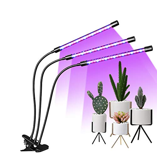 EMMMSUN Grow Light, 45W LED Grow Light with 3/6/12H Cycle Timing, 3-Head Adjustable Gooseneck Plant Light, 5 Dimmable Levels&3 Switch Modes for Indoor Plants