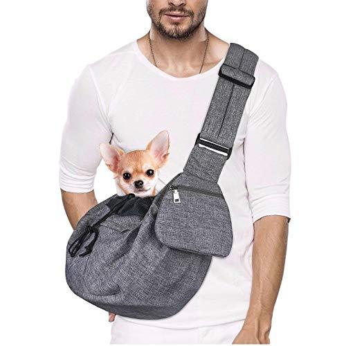 Lukovee Tragetuch Hund, Hand frei Tragetücher für Hunde Welpe Katze Tragetasche mit Boden unterstützt Verstellbarer Schultergurt und Sicherheitsgurt für kleine Hunde für den täglichen