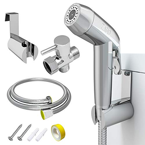 Handheld Bidet Sprayer for Toilet,ZGO Baby Cloth Diaper Sprayer,Adjustable Pressure Bathroom Sprayer with Stainless Steel Hose,Support Wall or Toilet Mount(Only Compatible with 7/8' Toilet)