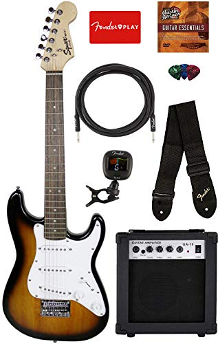 Fender Squier 3/4 Size Kids Mini Strat Electric Guitar Learn-to-Play Bundle w/ Amp, Cable, Tuner, Strap, Picks, Fender Play Online Lessons, and Austin Bazaar Instructional DVD - Brown Sunburst