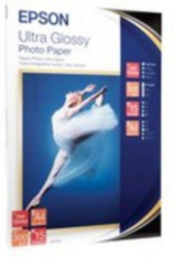 Epson Ultra Glossy Photo Paper, DIN A4, 300g/m², 15Sheets–Photo Paper (DIN A4, 300g/m², 15Blatt, 106x 156x 10mm, 420g, 15Blatt, A4)