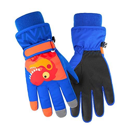Azarxis Dziecięce rękawice narciarskie, rękawiczki zimowe dla dzieci, ciepłe wiatroszczelne rękawiczki odpowiednie dla chłopców i dziewczynek do uprawiania sportu na świeżym powietrzu (królewski niebieski, M)