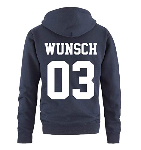 Comedy Shirts - Wunsch - Herren Hoodie - Navy/Weiss - Gr. M