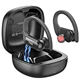 TOZO T5 Bluetooth Headphones True Wireless Earbuds TWS Sport Earphones Touch Control Headset with Wireless Charging Case HiFi Bass Stereo,Built in Mic Sweatproof for Running, Gym, Workout,Black