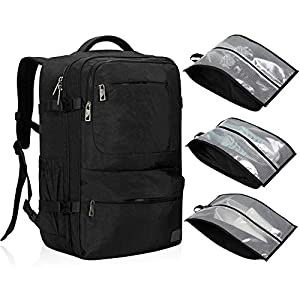Hynes Eagle 44L Carry on Travel Backpack with Water Resistant Shoe Bag 3 pcs Set Black