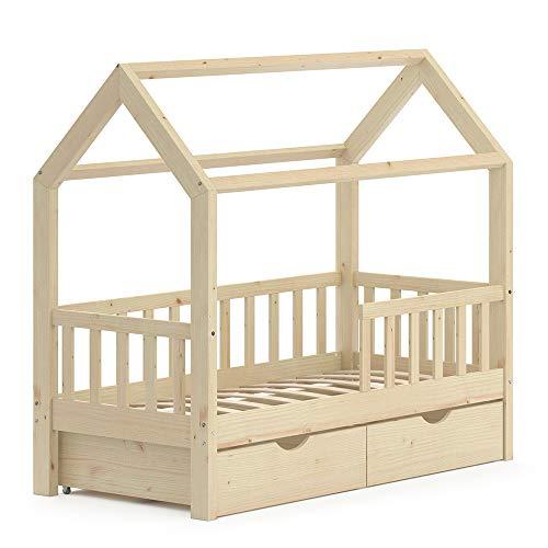 VitaliSpa Kinderbett Hausbett Spielbett Wiki 70x140 inkl Lattenrost (Natur, mit Schubladen)