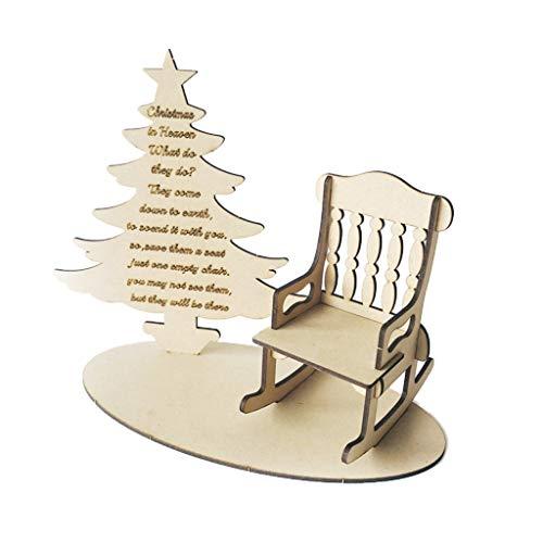Qianqian56 Weihnachten DIY Holz Ornamente 丨 Schaukelstuhl Weihnachtsbaum Gedichte im Himmel 丨 Gedenken an geliebte Menschen