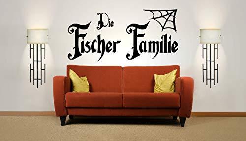 Personalisiert Name, Nachname, Halloween, Vinyl Wandkunst Aufkleber, Wandgemälde, Wandtattoo. Haus Dekor. Wohnzimmer. Addams Familie