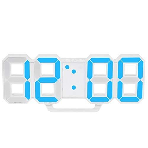 HERCHR Reloj de Pared de 3D LED Digital, Caja Blanca de la decoración del hogar del Despertador de la repetición de la Mesa del Dormitorio(Azul)