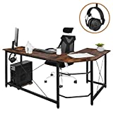 AuAg Modern L-Shaped Home Office Desk with Iron Hook, 66 inch Sturdy Computer PC Laptop Table Corner Desk Workstation Larger Gaming Desk Easy to Assemble 66' x 47.5' x 29' (Vintage Wood)
