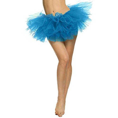 SCHOLIEBEN Jupe Robes Femme Vintage Haute RéTro Classique Plissé Stretch,Pretty Girl éLastique en Tulle Extensible 5 Couches Adulte Tutu(Blue)