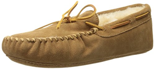 Minnetonka Men's Sheepskin Softsole Moccasin Slippers 12 M Golden Tan