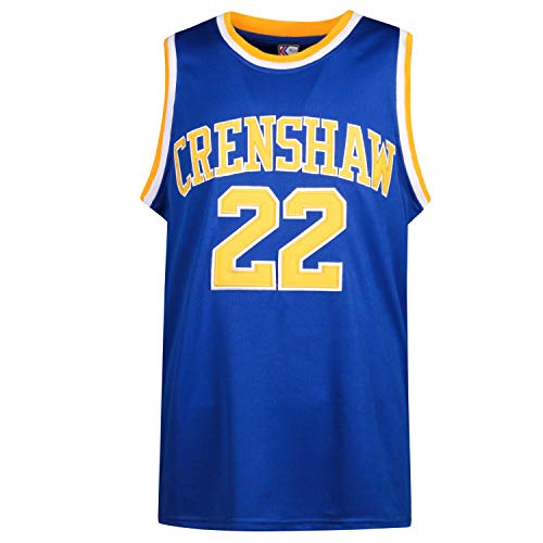 MOLPE McCall 22 Crenshaw Basketball Jersey S-XXXL, 90S Hip Hop Clothing for Party, 2-Layer Stitched Letters and Numbers (Blue, XXL)