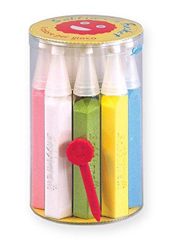 Sabbiarelli Sand-it for Fun - Basket: Set mit 12 nachfüllbare Stifte aus Buntem Sand mit 1 Schaber enthalten, Multicolour