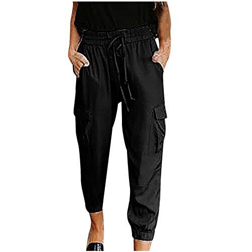 Bravetoshop Women Pants Drawstring Elastic Waist Pants Casual Summer Trousers with Pockets (Black,M)