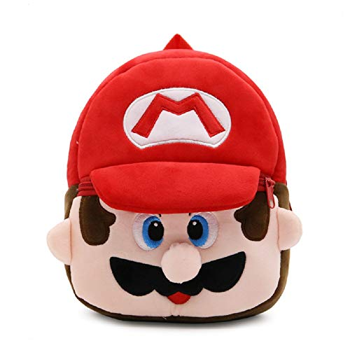 CHDJ Cartoon Süßer kleiner Kleinkind Mini Plüsch Rucksack für Baby Mädchen Jungen Alter 1–3 Jahre Rot Mario 3 Jahre