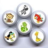 Juego de 6 pomos para muebles con diseño de animales de la selva, madera gris jirafa, mono, cebra, 35 mm, redondos