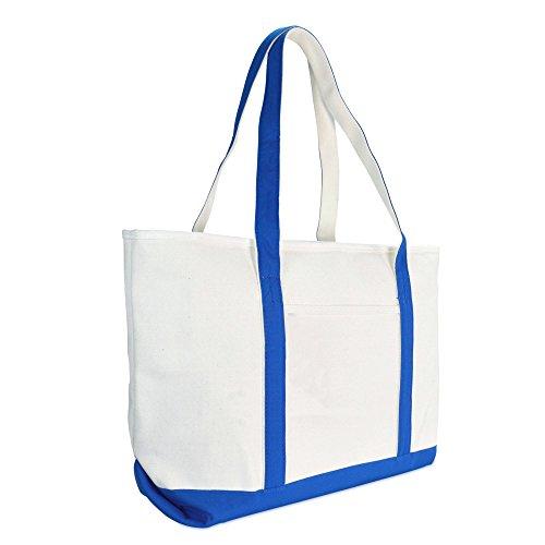 DALIX 23' Premium 24 oz. Cotton Canvas Shopping Tote Bag in Royal Blue