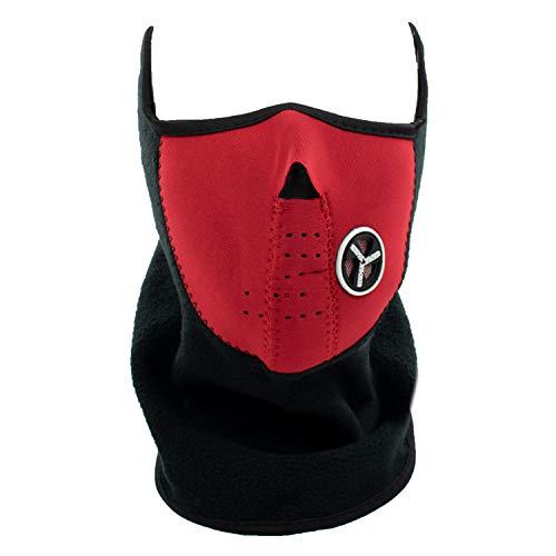 TRIXES Masque Facial en Noir Parfait pour l'hiver et Les Sports: Ski, Snowboard, BMX, vélo, Course, randonnée, Paintball et activités de Plein air - Rouge