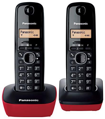 Panasonic KX-TG1612, Teléfono Fijo Inalámbrico Dúo (LCD, Identificador de Llamadas, Intercomunicación, Tecla de Navegación, Alarma, Reloj), DECT, Rojo