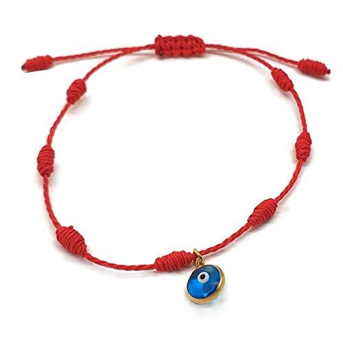 MYSTIC JEWELS by Dalia - Pulsera Kabbalah - cordón 7 Nudos de Hilo Rojo con un...