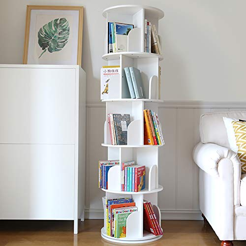 D&LE Wooden Revolving Bookshelf,360掳 Rotating Bookcase Student Landing Rack Toy Display and Storage for Home School Easy Assembly White C 45x158cm(17.7x62.2inch)